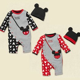 Wholesale Mouse Jumpers - Wholesale- 2016 Fashion baby Romper+Hat mouse bag printed infant One-pieces Jumpers Boy Girl clothes