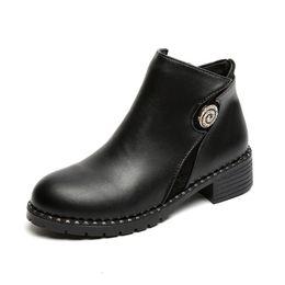 Wholesale Designer Wedge Heel Shoes - Fashion Rhinestone Martin boots women 2017 autumn designer Low Square heel Riding Equestrian Female Zipper 100% PU Leather shoes