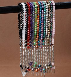 Wholesale Natural Stones String - Islamic 33 Prayer Beads Natural Stone Agate Crystal Beads Muslim Tasbih 8mm Prayer Rosary Islam Hand Strings 15 Colors Wholesale