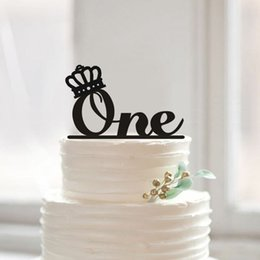 Wholesale Monogram Wedding Cakes - One Cake Topper First Birthday Cake Topper with Crown, Monogram ONE Cake Toppers for Birthday, Baby Shower Party Decoration Kids