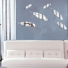 Wholesale Mirror Tv Wall Sticker - feather 3D mirror wall stickers TV background Creative Home Decor DIYgold silver Removable Decoration Stickers 2017 wholesale Free delivery