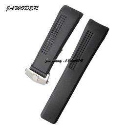 Wholesale Watch Diver Men - JAWODER Watchband 24mm Men Black Diver Silicone Rubber Curved End Watch Band Strap with Stainless Steel Deployment Buckle for TAG