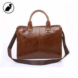 Wholesale Vintage Crocodile Men - Wholesale- ETONWEAG New 2017 men famous brands Italian leather brown zipper medium business briefcase luxury vintage laptop shoulder bags