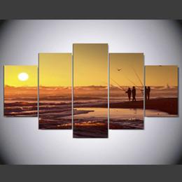 Moderna pittura a olio di tramonto online-Senza cornice 5 pezzi Sunset Landscape oil Painting Moderna decorazione della casa Wall art Soggiorno Canvas Print Paintings