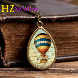Wholesale Wholesale Hot Air Balloon Plates - Hot Air Balloon necklace pendant charm, hot air balloon jewelry, steampunk necklace jewellery TD-0014