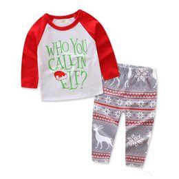 Wholesale Baby Santa Claus Suit - New Christmas Children Pants Suits 2 pieces Kids Clothing Sets long sleeve Santa Claus Deer Suits Girls Clothing Baby set Boy Suits