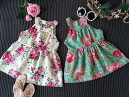 Wholesale Girls Printed Dress - Girl's Dresses INS Girls Vest Teenage Girl dress Kids Girls Print Dresses Ruffles with bows Kids Sleeveless Dress