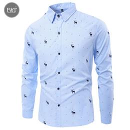 Wholesale Men S Slim Formal Shirts - Wholesale- New Mens Turn-Down Collar Formal Shirts Men Long Sleeve Slim Fit Casual Shirt Mens Dree Printed Christmas Social Dress Shirts