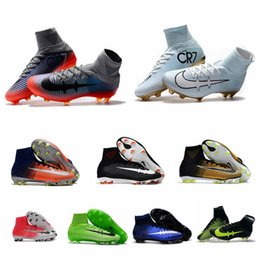 Wholesale Hot Boots For Men - 2017 Mercurial Superfly V FG original soccer cleats Pitch Dark cheap soccer shoes for men football boots cr7 Time to Shine ronaldo shoes Hot