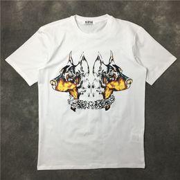 Wholesale Dog Print Clothes - 2017 summer fashion brand Mens T-shirts Men Short Sleeve Casual tshirt Tee Tops Mens A two-headed dog Tshirt Mens Clothing