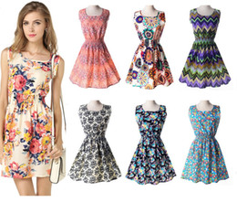 Wholesale China Women Clothes Free Shipping - Newest fashion Women Casual Dress Plus Size Cheap China Dress 19 Designs Women Clothing Fashion Sleeveless Summe Dress Free Shipping