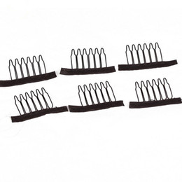 tooth hair clip Promo Codes - 10pcs Wig Combs For Making Wigs 6 Teeth Brown Black Color Wig Clips Cheap Stainless Steel Hair Exensions Clips Tools Free Shipping