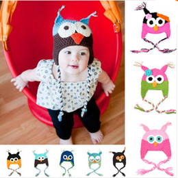 Wholesale Crochet Bird Hats - Baby Hat Crochet Ear Bird Bonnet 0-12 Months Hat Handmade Knit Soft Crochet Bonnet Newborn Photography Props Caps A298-1
