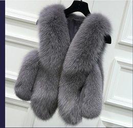 Wholesale Natural Knitted Fur Vest - 20008 Women Silver Fox Fur Vest gilet New Fur coat Women Slim Sleeve Full leather jacket Women Fox Fur Coat Winter Coat