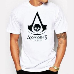 Wholesale Assassins Creed Tshirt - Top quality Cotton men t-shirt short sleeve Tshirt casual fashion tee shirt men assassins creed print T shirt free delivery