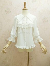 Wholesale Photo Pan - Real Photo 2017 Peter Pan Collar Three Quarter Puff Sleeve Ruffles White Lace Slim Gothic Lolita Blouses For Party