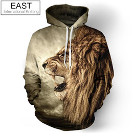 printed hoody for men Coupons - Wholesale-East Knitting F1387 New Fashion Galaxy Hoodie Sweatshirt For Men 3D Lion Print Cartoon Hoody Harajuku Hooded Polluver