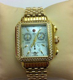 Wholesale Diamond Encrusted - free shipping MICHELE DECO CHRONO YELLOW GOLD CUSTOM DIAMOND ENCRUSTED WATCH MW06P00A9046