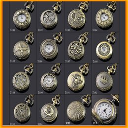 Wholesale Vintage Necklace Oval - Fashion Bronze Vintage Mini Pocket Watches Necklace chain Pendent Watch Antique Quartz Pocket Watches For Kids and Women
