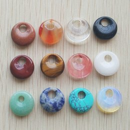 Wholesale Trendy Natural Stones - Wholesale- 2016 New high quality Assorted natural stone gogo donut charms pendants beads 18mm for jewelry making Wholesale 12pcs lot free
