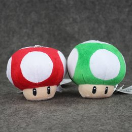 Wholesale Super Mario Mushroom Keychain - 8.5cm Super Mario Mushroom Keychain Plush Toy Soft Stuffed Doll Toy Pendant for kids gift free shipping retail