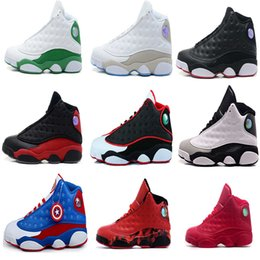 Wholesale High Quality Cat Leather - 2017 High quality air retro 13 Basketball shoes black cat What is Love bred flints grey toe He Got Game hologram barons Sport Sneakers