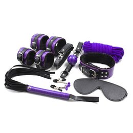Wholesale Sexy Collar Bondage - 7pce  Set sexy toys Adult Game sex Bondage Restraint,Handcuffs Nipple Clamp Whip Collar Erotic Toy Couples Sex Toy Q