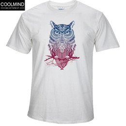 Wholesale Owl Neck - Fashion short sleeve owl printed men tshirt cool funny men's tee shirts tops men T-shirt cotton casual mens t shirts T01