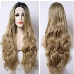 Wholesale Long Layered Synthetic Wig - 2017 Natural Hairline Long Wave Bouncy Layered Ombre #27 Blonde Short Black Roots Body Wave Heat Resistant Synthetic Hair Lace Front Wigs
