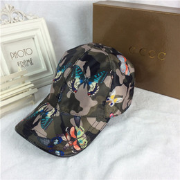 Wholesale Free Butterfly Prints - High quality canvas Duck tongue hat fashion army green butterfly pattern hats outdoor sports designer ball caps luxury brand baseball cap