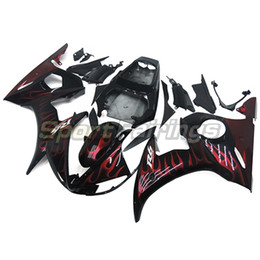 Wholesale Motorcycle Motor Kit - Full Fairings For Yamaha YZF-R6 YZF600 R6 Year 2005 05 Motorcycle Fairing Kit ABS Bodywork Black Red Flames Motor Fairings New
