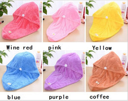 Wholesale Towels Sale Yellow Wholesale - Factory direct sale han edition coral fleece dry hair cap dry hair towel Super absorbent bowknot thickening shower capFactory direct sale ha