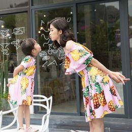 Wholesale Children S Summer Dresses - matching mother daughters clothes summer dresses short sleeve fruit pattern Word shoulder fashion design children kids clothes