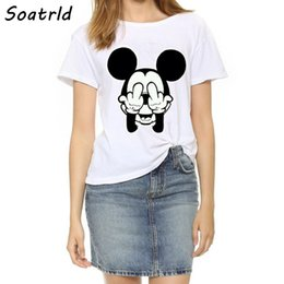 Wholesale White Short T Shirt Female - Wholesale- 2017 New T-shirts Women Plus Size Top Fashion Short Sleeve Female T shirts Naughty Mouse Print O-neck Women's T-shirt