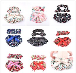 Wholesale Childrens Blouses - INS girls shorts baby bloomers + headbands set childrens ruffled shorts kids cotton underwear girl boutique short pants wholesale