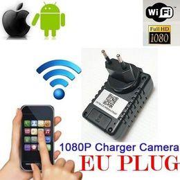 Wholesale Hd Ip Camera Audio - HD 1080P EU US Plug WiFi Charger Camera Wireless Hidden Camera USB Wall Charger AC Adapter Spy Camera IP Cam Audio Video Recorder