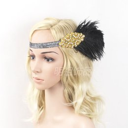 Wholesale Burlesque Fascinator - Feather Hair Band Fascinator Decorative Rhinestone Masquerade Retro Vintage Headband Burlesque Lady's Accessories