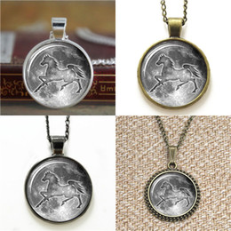 Wholesale jewelry horse earrings - 10pcs Moon Horse Pendant Jewelry Horse heart Glass Photo Necklace keyring bookmark cufflink earring bracelet