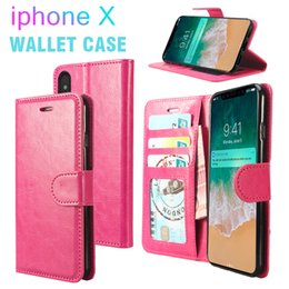 Wholesale Galaxy Wallet Cases - Premium PU Leather Wallet Case For iPhone X Galaxy S9 Plus Wallet Cover Case with Card Slot Kickstand Flip Cover Shell with OPP Bag