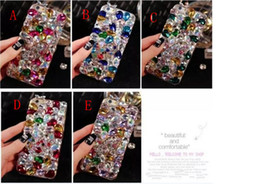 Wholesale Bling Iphone Big - Luxury Colorful Stone DIY Glitter Rhinestone Crystal Cover Full Big Diamond Bling Case for iPhone 6 plus 7 7plus iphone 8 samsung s8 s6 s7