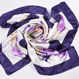 Wholesale Blanket Felt - Wholesale- Silk Women Fashion Shawl Large Blanket Scarves Foulard Femme Hot Large Satin Square Silk Feeling Hair Scarf 90*90cm