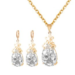 Wholesale Carved Earring Gold - Fine Jewelry sets S159 Korean jewelry gold and silver color hollow carved Pendant Necklace Set Earrings Jewelry Set