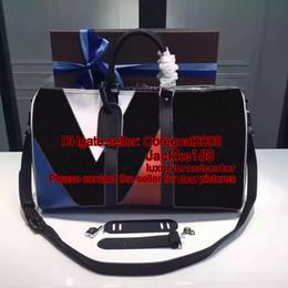 Wholesale Weekend Bags Women - KEEPALL BANDOULIÈRE 45 REGATTA N41617 KEEPALL VOYAGER M43038 mens travel bag weekend duffle bag luxury brand bag Carry On GYM handbag