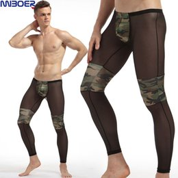 Wholesale Camouflage Sexy Underwear - Mesh Pants Men Camouflage Fitness Pouch Sexy Tight Comfortable See Underwear Sheer Transparent Low Waist Men Fashion Long Johns