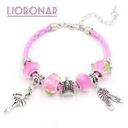 Wholesale Girl Beads European - New Pink Leather Bracelet Pink Lampwork Murano Glass Bead Ballet Shoe Dancing Ballerina Charm Bracelets for women girls Jewelry Gift Pulsera