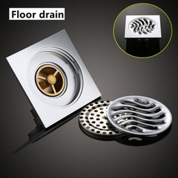 Wholesale Drain Grating - Square Floor Drain Brass Shower Drainer Grate Waste Tile Insert Square Floor Waste Grates Bathroom Drains Drain Strainers