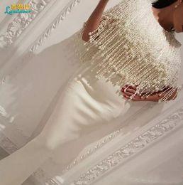Wholesale Tassel Halter Neck Dress - 2017 White Tassel Major Beading Mermaid Prom Evening Dresses Floor Lenghth Chiffon Prom Saudi Arabia Dubai Middle East Muslim Gowns
