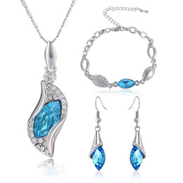Wholesale Design Crystal Drop Necklace - Austria Crystal Rhinestone Jewelry Set Water Drop Design Stylish Necklace Earrings Bracelet jewelry sets fashion wedding necklace Trend