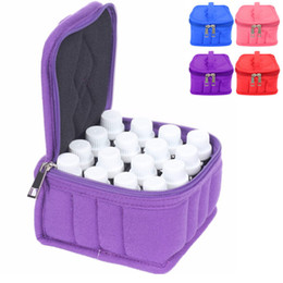 Wholesale Travel Bottle Storage Bag - Wholesale- Durable Portable 16 Bottles Essential Oil Case Carrying Travel Holder Cotton Storage Organize Bag Zipper For 5 10 15ml pa877420