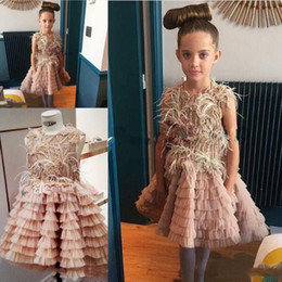 Wholesale Baby Blue Feather - Gorgeous Pink Feather Flower Girl Dresses 2017 Sequins Beaded Tulle Tiered Girls Pageant Gowns Sleeveless Knee Length Baby Prom Party Dress